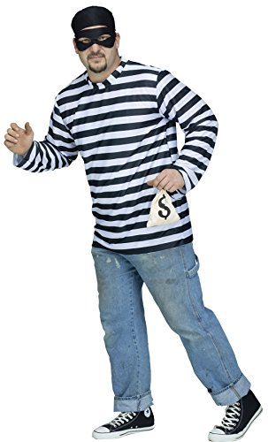 Fun World Plus Size Men's Burglar Outfit Thief Criminal, Multi Plus Size]()