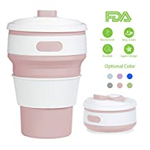 Silicone Collapsible Cup Convenient Travel Coffee Rocontrip Mug Lightweight Food Grade Silicone & PP BPA Free for Camping Hiking Outdoor Commuters