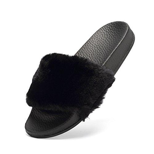 Cior Women Open Toe In Ecopelliccia Slip On Sandali Flip Flop Soft Flat Slide Neri