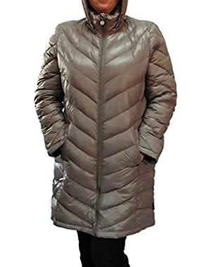Lightweight Packable Down Quilted Puffer Coat-taupe