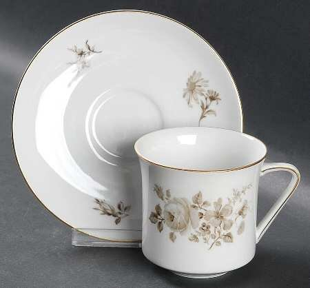 (Twilight Rose by Johann Haviland Cup & Saucer - brown roses)