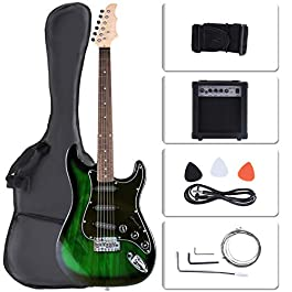 LAGRIMA Full Size 39 inch Electric Guitar Beginner Kit with Amp, Tuner, Strings, Picks, Shoulder Strap, and Bag(39,Green…