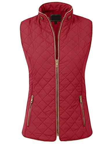 BEKDO Womens Solid Quilted Lightweight Trendy Mandarin Neck Zip Up Vest-L-Red by BEKDO