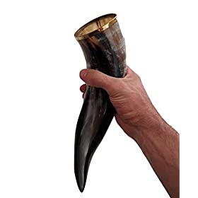 AleHorn Authentic Drinking Horn With Stand – Polished Finish – XL – Viking Style G