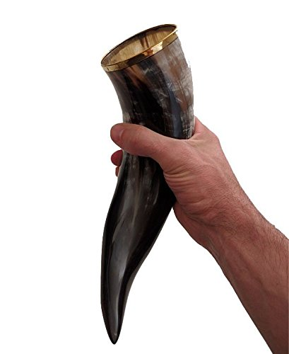 Alehorn - Genuine Drinking Horn Vessel - Large Polished Finish - Medieval Viking Norse Beer Mug - Game of Thrones Cup Goblet for Beer, Mead, Ale - Waterproof Interior - Curved Style