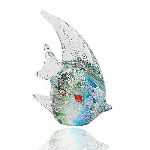 (Hophen Murano Angel Fish Art Glass Blown Handmade Sea Animal Figurine Sculpture Home Decor Collectible Statue Paper Weight Gift Ornament (Small Green))