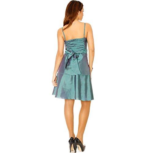 Miss Wear Line - Robe de soirée brillante en vert avec lacet devant, robe cocktail, mariage et soirée