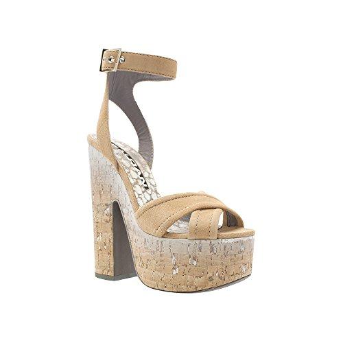Baldan Italiaanse Designer Zwart Suede Criss Cross Platform Sandaal Met Enkelbandje Tan