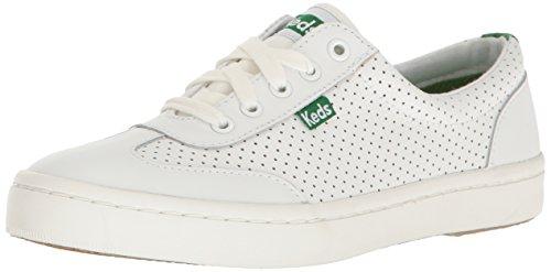 (Keds Women's Tournament Retro Court Perf Leather Fashion Sneaker, White/Green, 5.5 M US)