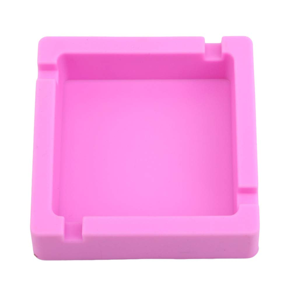 LJSLYJ Pink Square Shape Ashtray High Temperature Resistant Silica Gel Ashtray Portable Household Car Ashtray