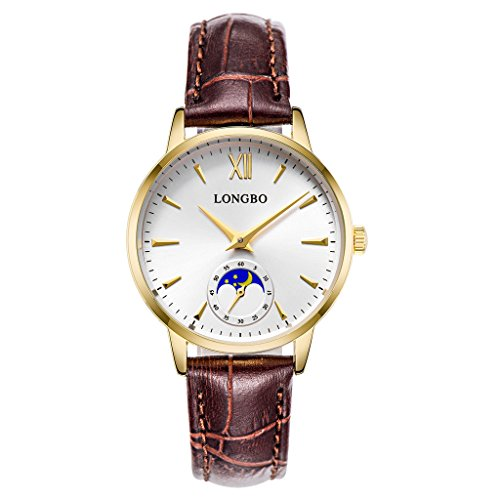 LONGBO Casual Women's Gold Plated Sun Moon Phase Roman Numeral Business Watch Brown Leather Band Dress Wristwatch Waterproof Date Couple Watches (Band Expansion No White Dial)