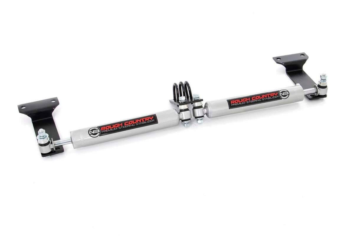 Rough Country N3 Dual Steering Stabilizer for Lifted Ford Excursion, F250 F350 Super Duty