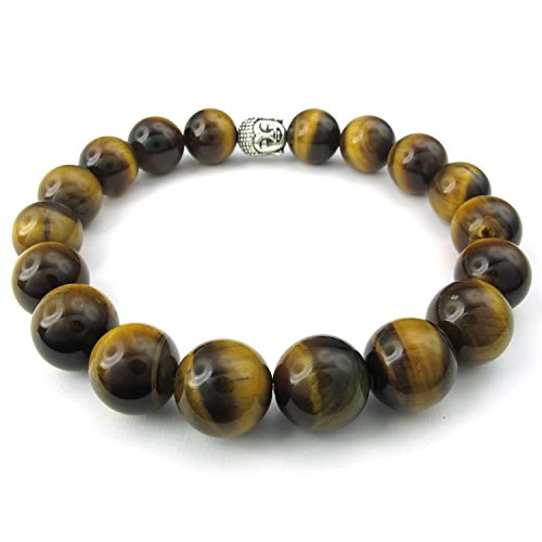Casoty Jewelry Natural Tiger Eye Gemstone Buddha Zen Tibetan Beads Bracelet Bangle Chain Silver