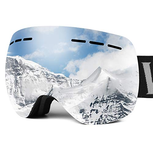 Wolfyok Ski Snowboard Snow Goggles Dual Layers Anti-Fog Lens UV400 Protection Over The Glasses OTG Ventilation Design for Men Women Youth Winter Outdoor Sports