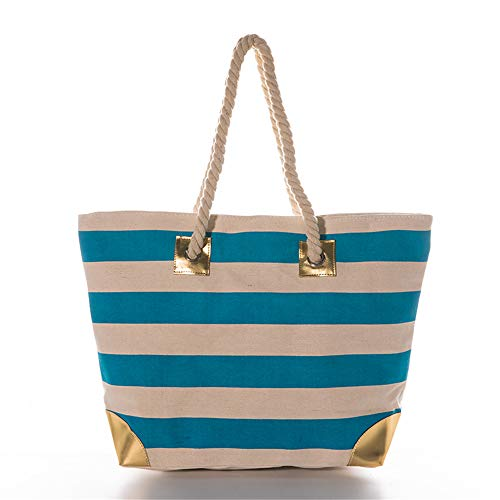 Women Large Beach Bag Canvas Striped Tote Bag With Metallic Gold Accents (Aqua Stripe) ()