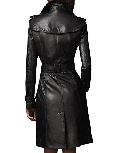 Yollmart Yoll Womens Slim Fit MD-Long Faux Leather Jacket Trench Coat Overcoat