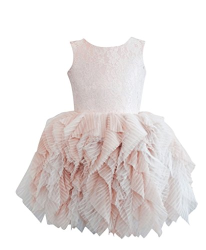 Girls' Tulle Flower Princess Wedding Dress For Toddler and Baby by Kocanli