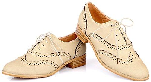 Wingtip Leder Anlarach Carving Heel Schuhe Low schnüren Kleid sich Beige Knöchel oben Damen Stiefeletten Vintage Brogue zpvw1zq
