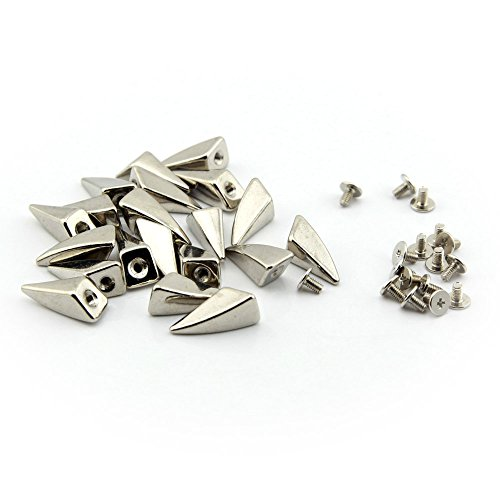Owfeel 50pcs 10x20mm Dragon Claw Spike and Studs Silver Metal Screw Back DIY Punk Spikes for ()