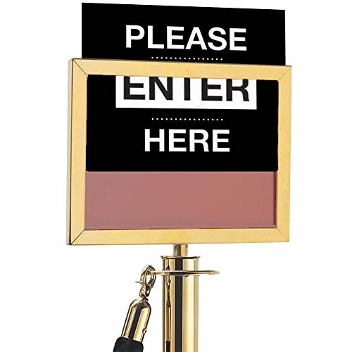 8 1/2'' x 11'' Horizontal Brass Sign Frame for Rope Style Crowd Control Stanchions By TableTop King by TableTop King