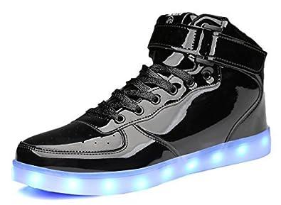 b883a693b1 MOHEM ShinyNight High Top LED Shoes Light Up USB Charging Flashing Sneakers (1687003ShiningBlack37)