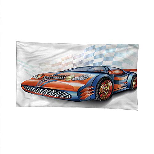 Carswall Tapestry for bedroombeach tapestryCartoon Style Race Car 91W x 60L Inch