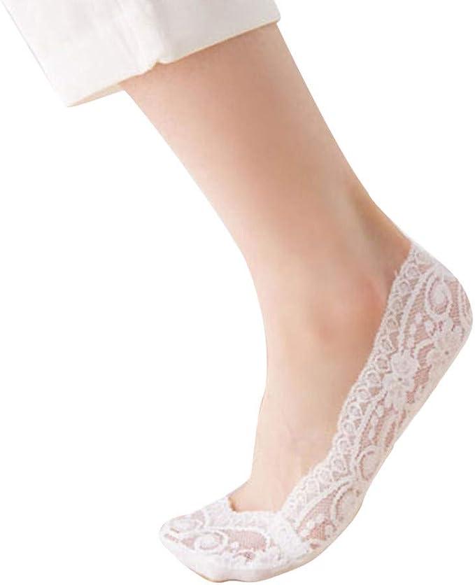Rawdah_Calcetines Mujer Invierno Divertidos Termicos Algodon Moda Mujer Algodón Mezcla Encaje Antideslizante Invisible Bajo Corte Calcetines Toe Tobillo Calcetín: Amazon.es: Ropa y accesorios