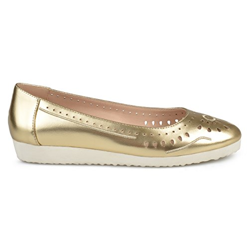 Brinley Co Womens Cyra Faux Leather Laser-Cut Comfort-Sole Embroidered Lightweight Flats Gold, 10 Regular (Leather Laser)