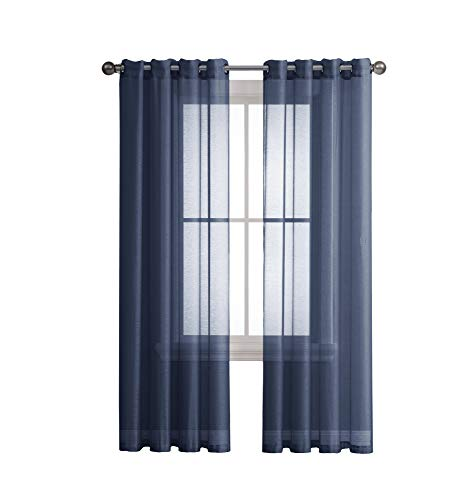 Grommet Semi-Sheer Curtains - 2 Pieces - Total Size 108 Inch Wide (54 Inch Each Panel) - 108 Inch Long - Panel Beautiful, Elegant, Natural Light Flow, and Durable Material (Navy)
