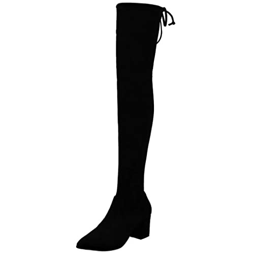 da91fa59132 MAVIRS Knee High Boots Women's Pointed Toe Boot Thigh High Over The Knee  Booties Low Heel Tall Boots