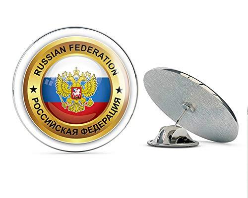 - Russian Federation World Flag Golden Badge Round Metal 0.75