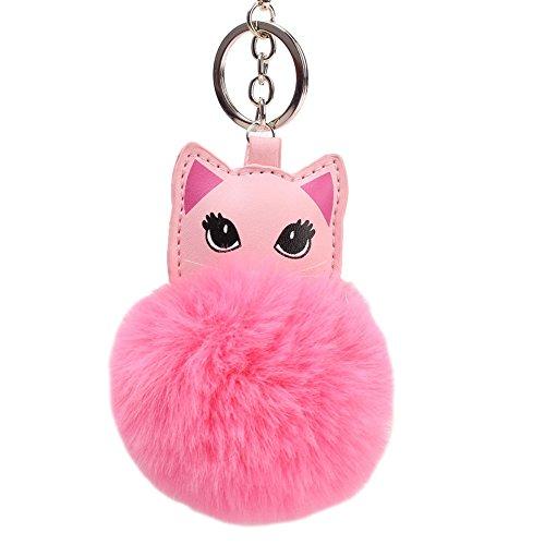 Yinpinxinmao Women's Key Ring Cat Lovely Pompom Fluffy Ball Pocket Pop Keychain Bag Pendant Ornament Dark (Dark Pink Bottle Opener)