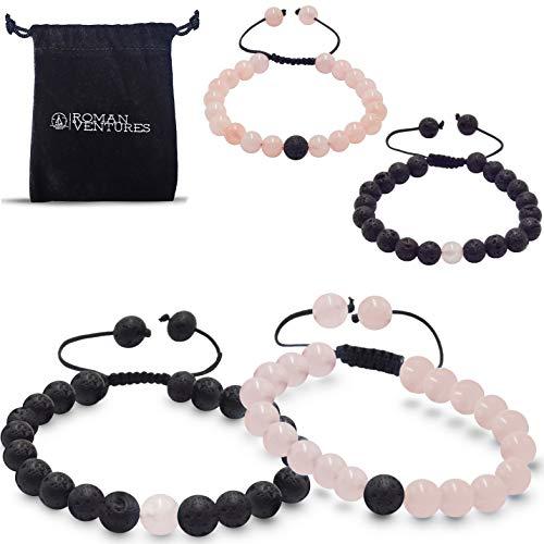 Distance Bracelet (Black Lava and Rose Quartz) ()