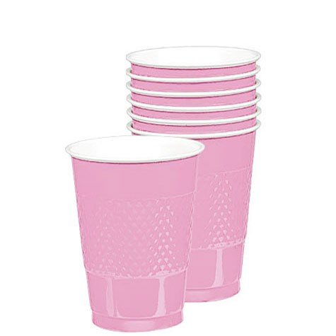 Amscan Party Ready Reusable Plastic Cups (20 Pack), Pink, 3.5 x 3.5