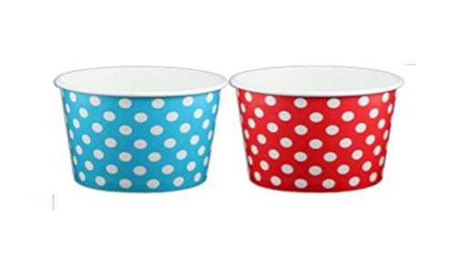 Beach Party Polka Dot Ice Cream Cups (4 ounce, Red and Blue Dot)