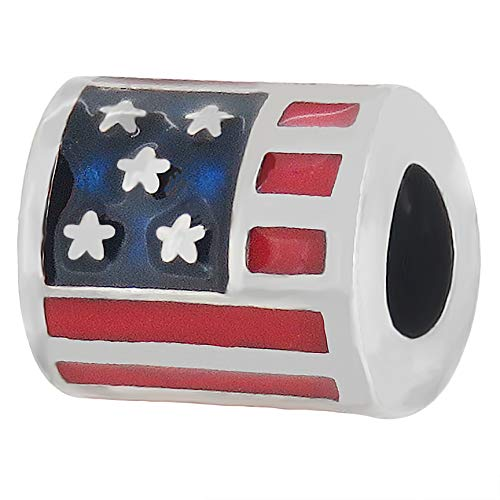 - Zable Sterling Silver USA Flag Bead Charm (10 X 9 mm)