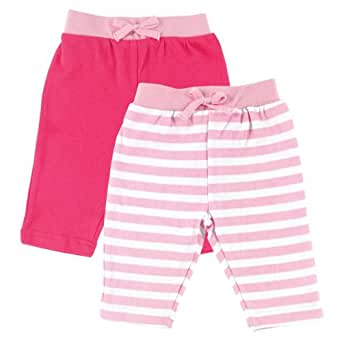 Luvable Friends 2-Pack Pants, Pink with Drawstring, 0-3 Months