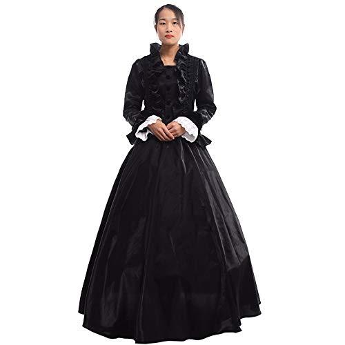 GRACEART Women Medieval Renaissance Lolita Dress Masquerade Ball Gown Black XXL