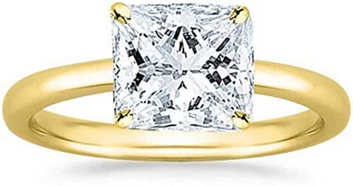 18K White Gold Princess Cut Solitaire Diamond Engagement Ring (1 Carat I-J Color I1 Clarity)