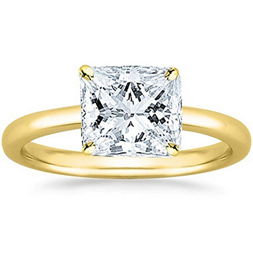 18K Yellow Gold Princess Cut Solitaire Diamond Engagement Ring (1 Carat G-H Color VS1-VS2 Clarity)
