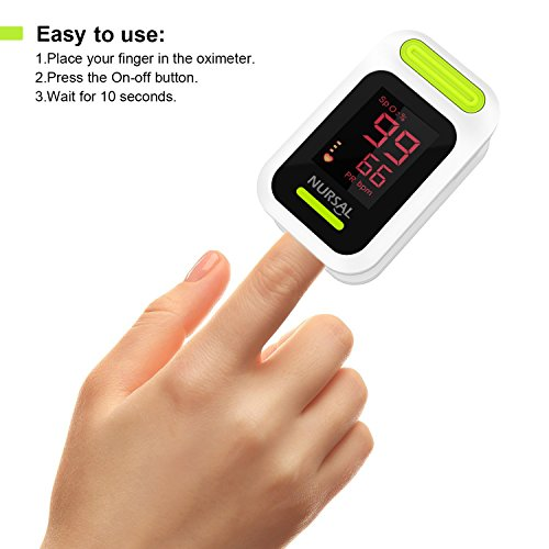 NURSAL Fingertip Pulse Oximeter Blood Oxygen Saturation Monitor with Carrying Case & Lanyard, White by NURSAL (Image #2)