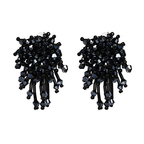 Charming Crystal Beads Thread Long Geometric Charms Eardrop Dangle Drop Earrings (Metallic Black)