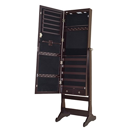Full Length Mirror Jewelry Cabinet Armoire Velvet-Lined Interior Organizer Storage w/ LED Lights Battery by FDInspiration