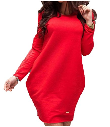 Sleeve Neck Long Crew Coolred Mini Plus Dress Womens Baggy Solid Size Red 1YEEAqw