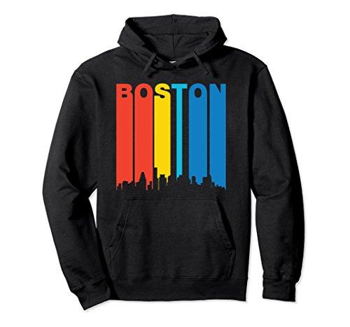 Unisex Retro Boston Massachusetts Cityscape Downtown Skyline Hoodie Small - Boston Downtown Massachusetts