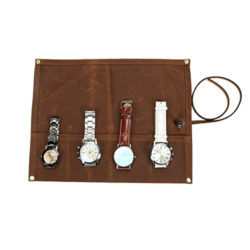 TUYU Waxed Canvas Watch Roll Organizer Multi-Purpose Travel Watch/Jewelry Rolls Case Waterproof Durable Perfect Gifts for Father/Mother or Watch Collectors SBJ001 (coffee)