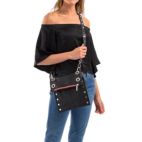 Awa Brushed Black silver Crossbody Montana Zip Hammitt Medium Reverse Buffed Red Silver Women's Bag RwZ4Yqg
