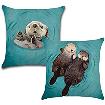 Royalours Adorable Animal Otter Pillow Covers Cotton Linen Square Decorative Throw Pillow Case Cushion Covers for Home Sofa Couch 18x18 inch Set of 2 Pillowcase (2pack Otter)