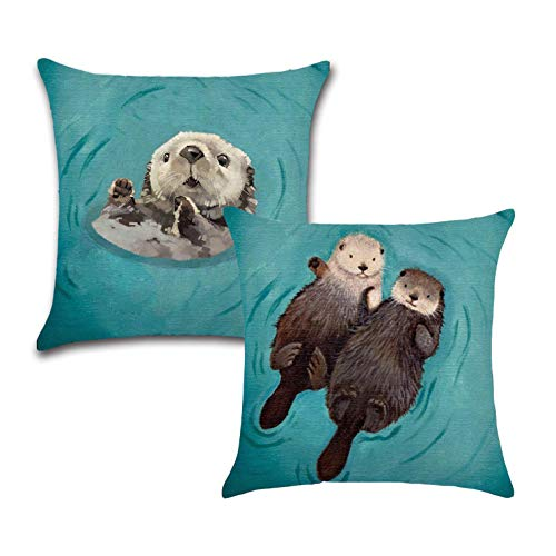 Price comparison product image Royalours Adorable Animal Otter Pillow Covers Cotton Linen Square Decorative Throw Pillow Case Cushion Covers for Home Sofa Couch 18x18 inch Set of 2 Pillowcase (2pack Otter)