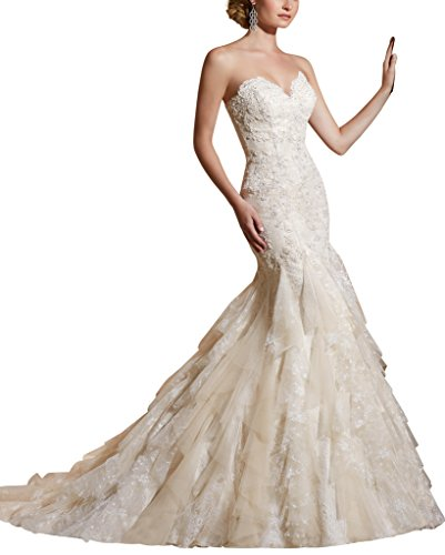 VenusDress Lace Wedding Dresses Strapless Sweetheart Mermaid Bridal Gowns
